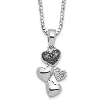 Sterling Silver Rhod Plated White & Black Diamond Heart Pendant Necklace