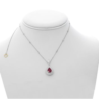Pear-shaped Ruby & Diamond Halo Necklace