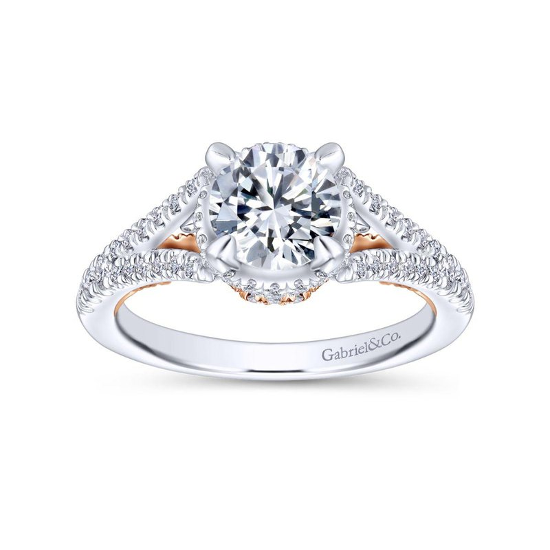 Gabriel Bridal Bestsellers 14K White-Rose Gold Round Diamond Engagement Ring