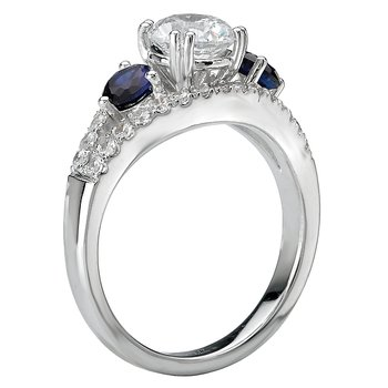 3-Stone Diamond and Sapphire Ring