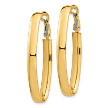 14k High Polished 5mm Omega Back Oval Hoop Earrings