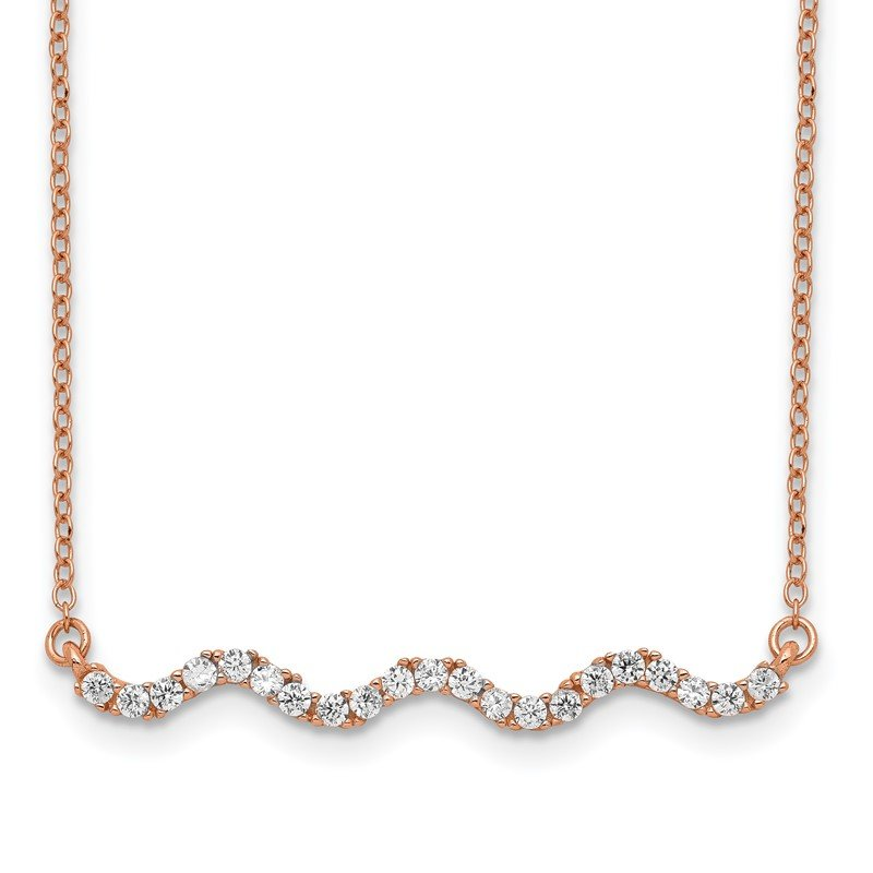 Quality Gold Sterling Silver Rose Gold-plated CZ w/2in ext. Wavy Bar Necklace