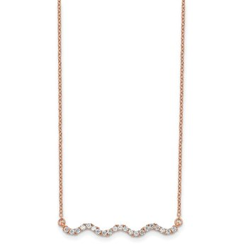 Sterling Silver Rose Gold-plated CZ w/2in ext. Wavy Bar Necklace