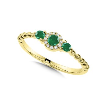 Beaded 3-Stone Halo Diamond and Emerald Ring