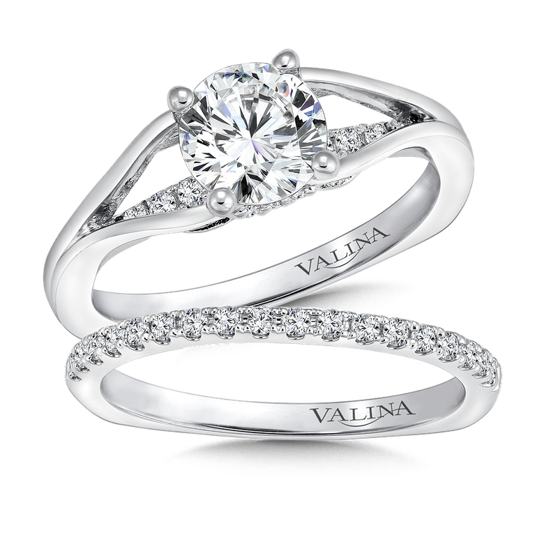 Valina Bridals Mounting with side stones .11 ct. tw., 1 ct. round center.