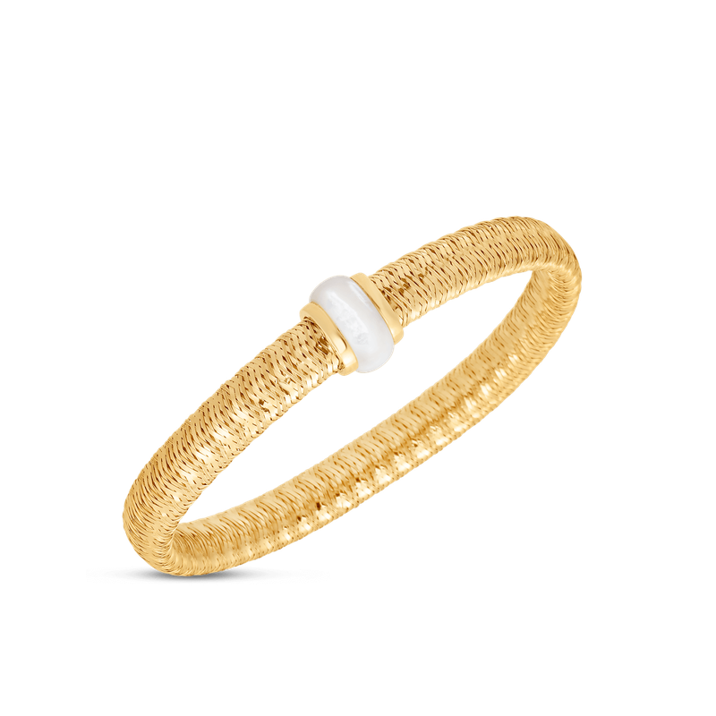 Roberto Coin 18KT GOLD FLEXIBLE BANGLE WITH MOTHER OF PEARL