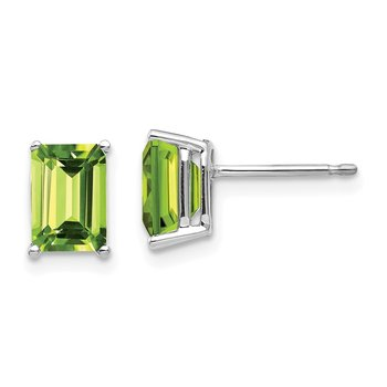 14k White Gold 7x5mm Emerald Cut Peridot Earrings