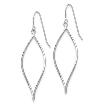 14k White Gold Polished Twisted Oblong Dangle Earrings