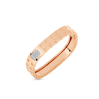 2 Row Square Bangle With Diamonds &Ndash; 18K Rose Gold, M