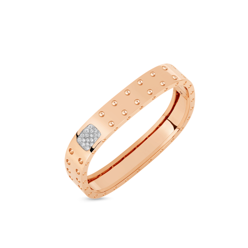 Roberto Coin 2 Row Square Bangle With Diamonds &Ndash; 18K Rose Gold, M
