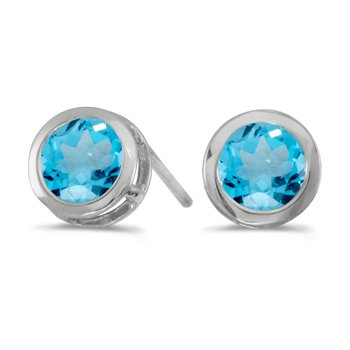 14k White Gold Round Blue Topaz Bezel Stud Earrings