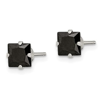 Sterling Silver Black CZ 5mm Square Post Earrings