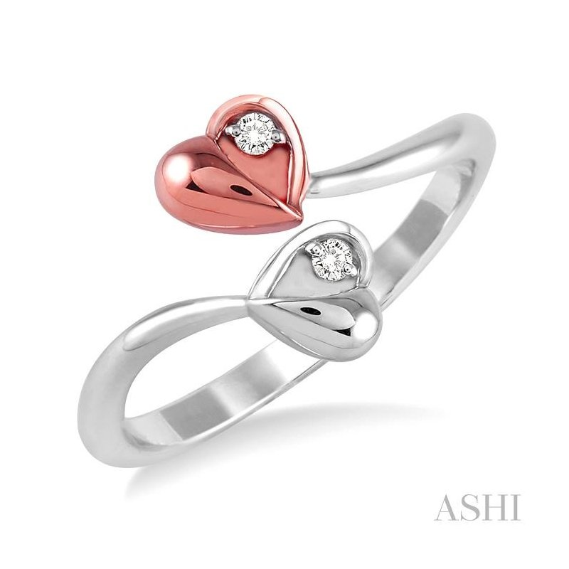 ASHI twin heart shape 2stone diamond ring