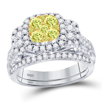 14kt White Gold Womens Round Yellow Diamond Bridal Wedding Engagement Ring Band Set 1/2 Cttw