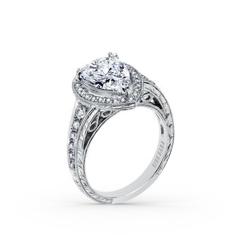 Elegant Pear Halo Diamond Engagement Ring