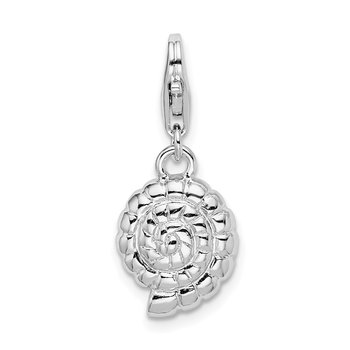 Sterling Silver RH Polished Shell w/Lobster Clasp Charm