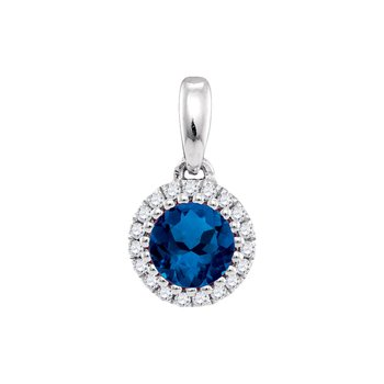 14kt White Gold Womens Round Natural Blue Sapphire Solitaire Pendant 5/8 Cttw