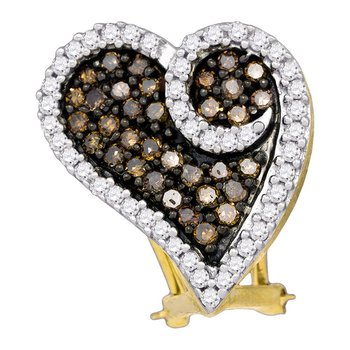 10kt White Gold Womens Round Brown Color Enhanced Diamond Heart Earrings 1.00 Cttw