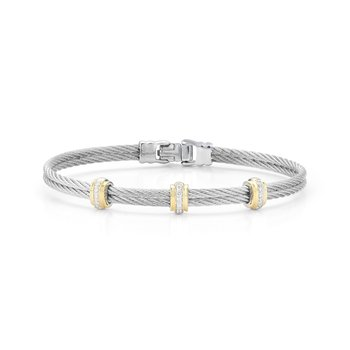 Grey Cable Fused Bracelet with 18kt Yellow Gold & Diamonds