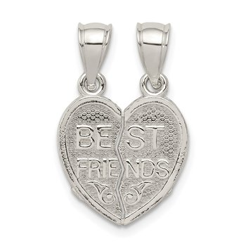Sterling Silver Polished Mini Best Friends Break Away Heart Pendant