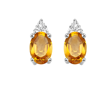 10K White Gold Color Ensembles Prong Citrine Earrings 1/25CT