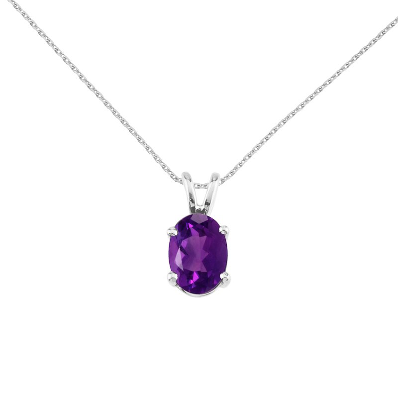 Color Merchants 14k White Gold Oval Amethyst Pendant
