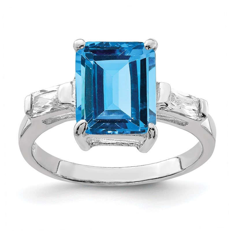 J.F. Kruse Signature Collection Sterling Silver Rhodium Blue Topaz Ring