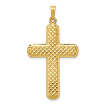 14k Polished and Textured Cross Pendant