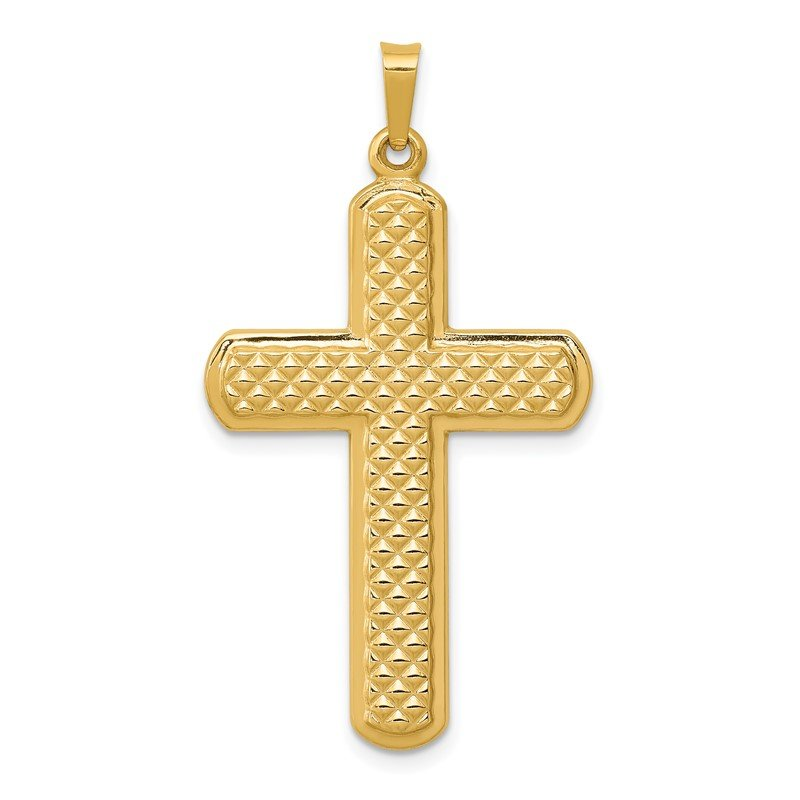 Quality Gold 14k Polished and Textured Cross Pendant