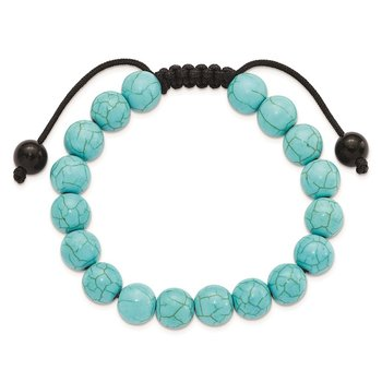 9mm Imitation Turquoise and Black Cord Bracelet