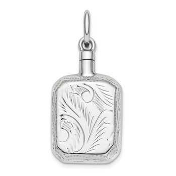 Sterling Silver Rhodium-Plated Rectangular Ash Holder Pendant