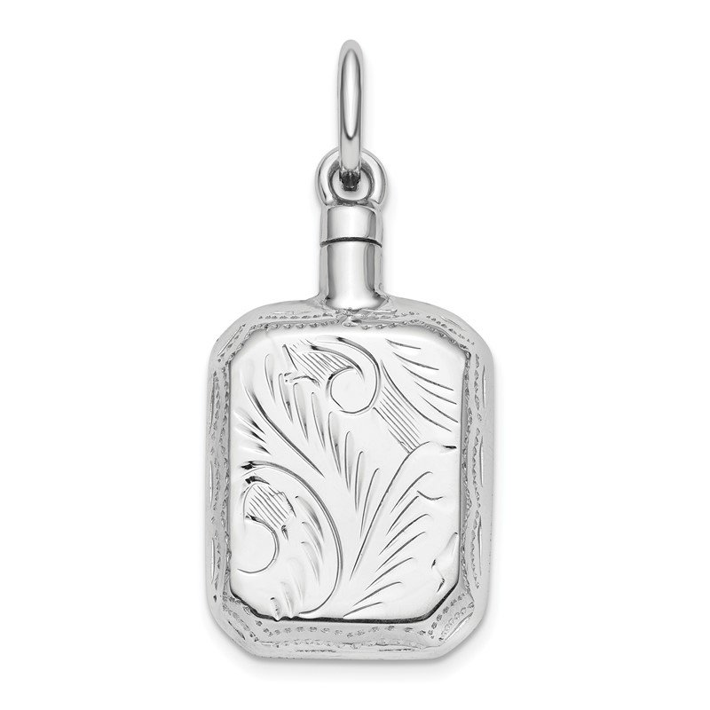 Quality Gold Sterling Silver Rhodium-Plated Rectangular Ash Holder Pendant