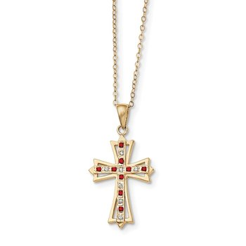 SS Diamond Mystique Gold-plated Dia. & Ruby 18in Cross Necklace