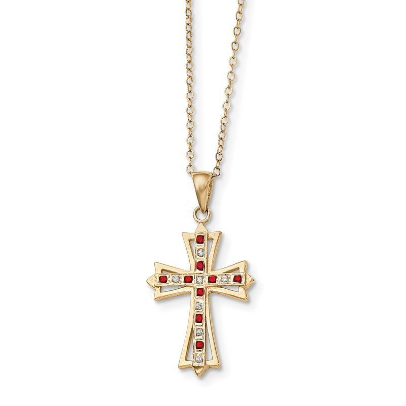 Quality Gold Sterling Silver & Gold-plated Dia. & Ruby 18in Cross Necklace