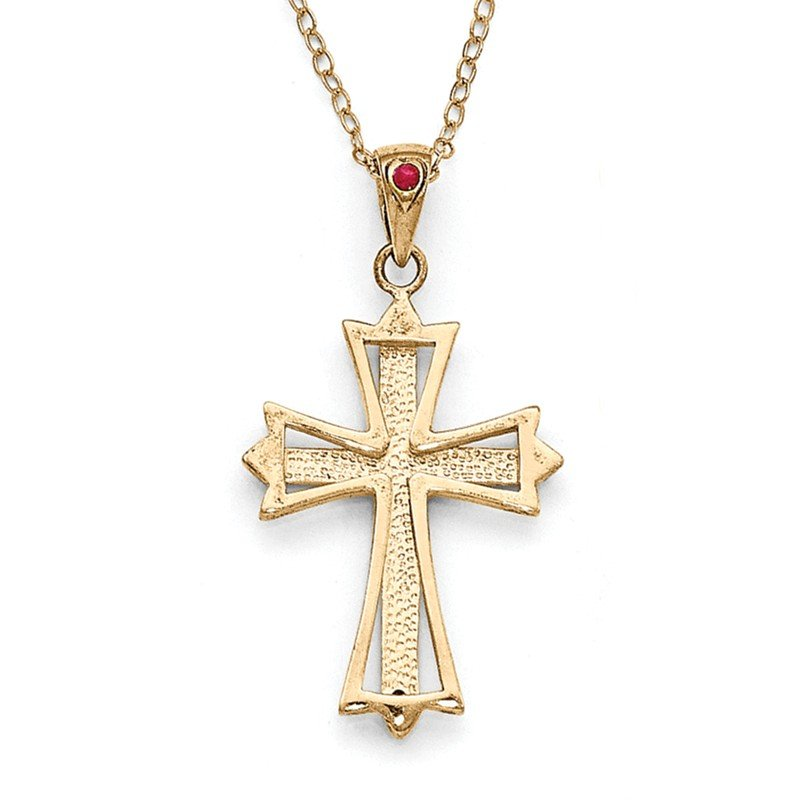 Quality Gold SS Diamond Mystique Gold-plated Dia. & Ruby 18in Cross Necklace