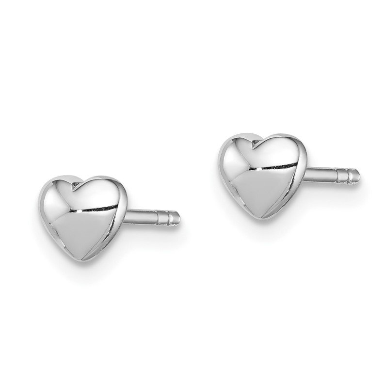 Quality Gold Sterling Silver Rhodium Plated Polished Heart Post Earrings