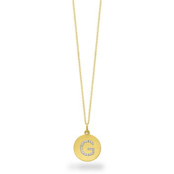 "Diamond Disc Initial ""G"" Necklace in 14k Yellow Gold with 19 Diamonds weighing .09ct tw."