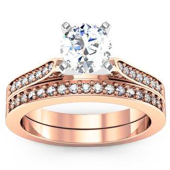 Petite Pave Diamond Setting with Matching Wedding Band