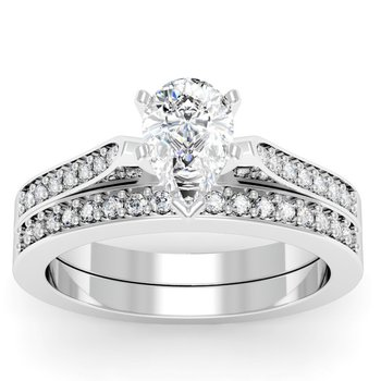 Petite Pave Diamond Setting with Matching Wedding Band