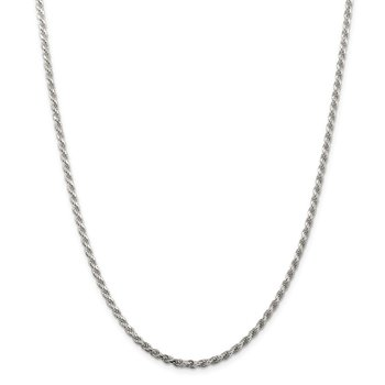 Sterling Silver Rhodium-plated 2.75mm Diamond-cut Rope Chain