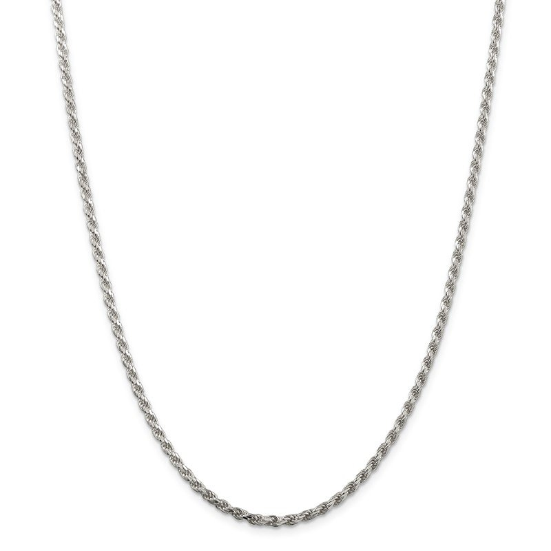 Quality Gold Sterling Silver Rhodium-plated 2.75mm Diamond-cut Rope Chain