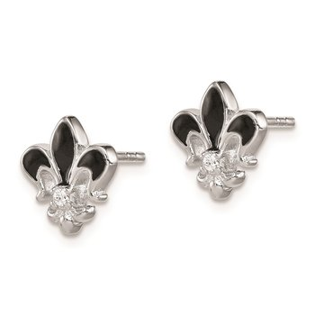 Sterling Silver Rhod-plated CZ Enamel Fleur de lis Post Earrings