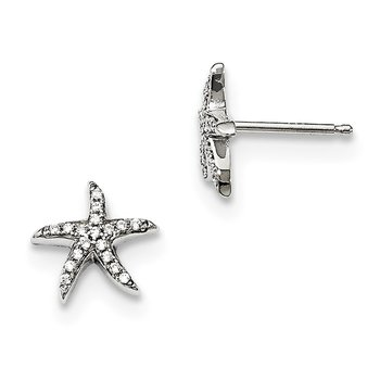 Sterling Silver Brilliant Embers Rhodium-plated CZ Starfish Earrings