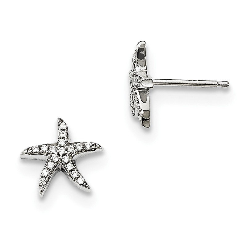 Quality Gold Sterling Silver CZ Brilliant Embers Starfish Earrings