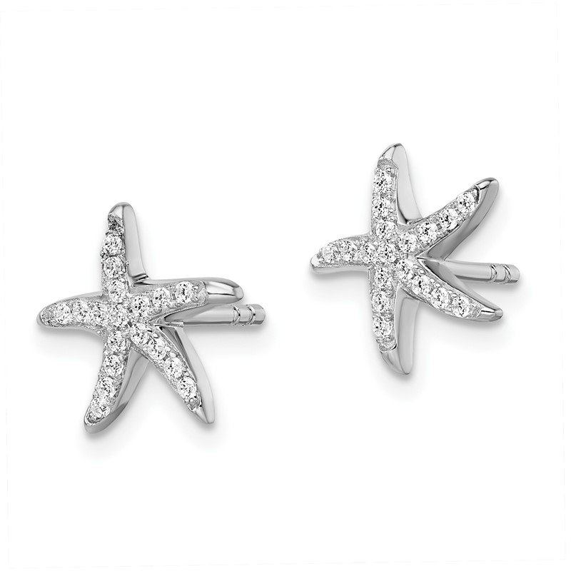 Quality Gold Sterling Silver Brilliant Embers Rhodium-plated CZ Starfish Earrings