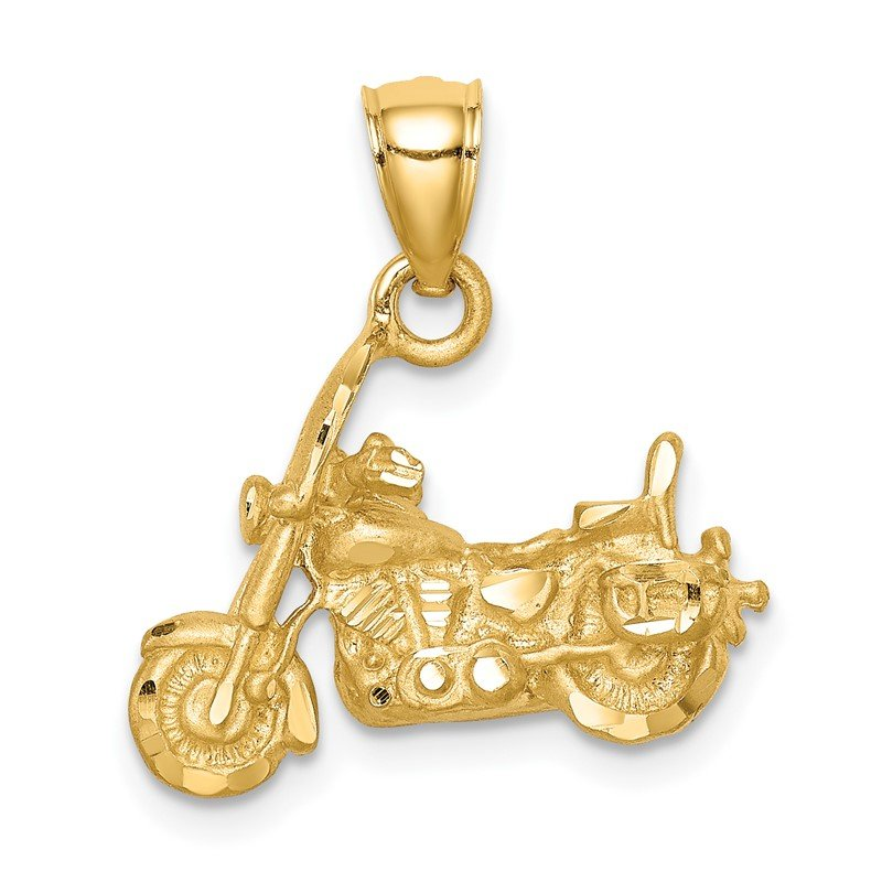 Quality Gold 14K Brushed D/C 3D Motorcycle Pendant