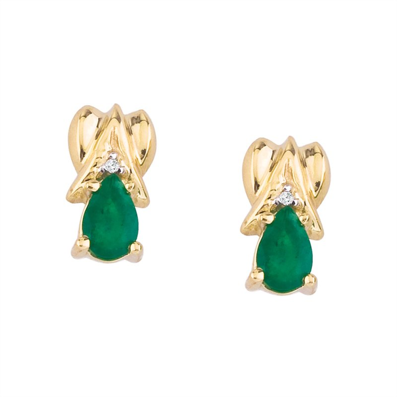 Color Merchants 14k Yellow Gold Pear-Shaped Emerald and Diamond Stud Earrings