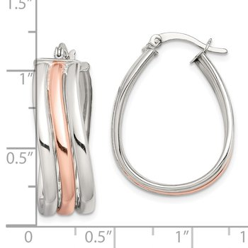 Sterling Silver Rose Tone Polished Slanted Hoop Earrings