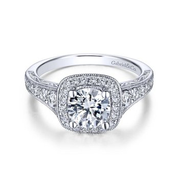 14k White Gold Diamond Halo and Channel Milgrain Engagement Ring