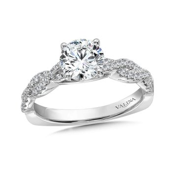 Diamond Engagement Ring Mounting with Side Stones in 14K White Gold (.31 ct. tw.)